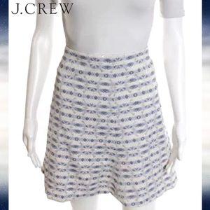 J CREW Blue/Gray/Gold Metalic Abstract ALine Skirt