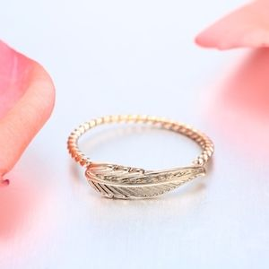Jewelry - 14K Gold Boho Feather Charm Twist Spiral Ring