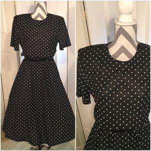 Vintage black and white polka dot dress Medium