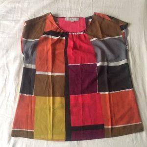 LOFT block print blouse