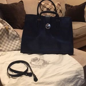 Ralph Lauren Navy Blue Leather Tote Bag *LIKE NEW*