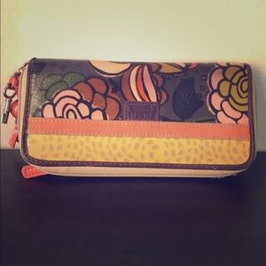 Fossil Brown, Orange & Tan Floral Keyper Wallet