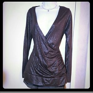 NYE Sparkly Charcoal Slate Grey Deep Plunge Silver
