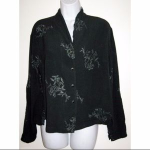 Vtg J Jill Rayon Blouse Dark Green w Embroidery M