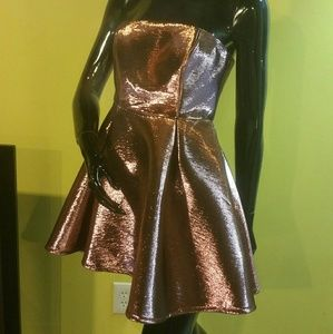 Top Shop metallic pink and black cupcake dress