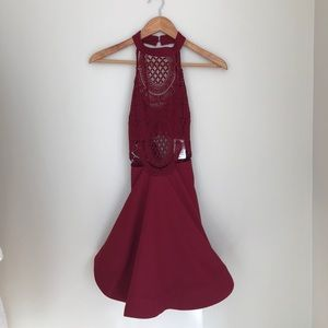 NWT Charlotte Russe Red Lace Swing Dress Size S