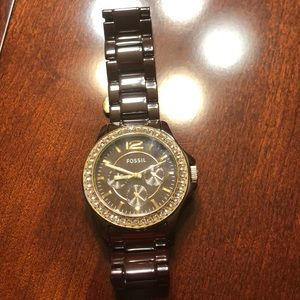 Women's fossil watch with stones
