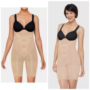 SPANX Assets Open Bust Mid Thigh Shaper  Sand New