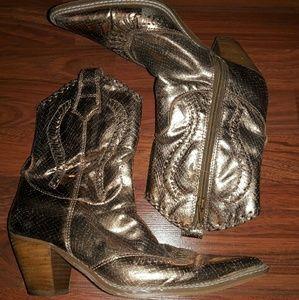Nine west metallic bronze western cowboy boots 7