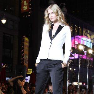 Express ivory matte satin tuxedo jacket blazer