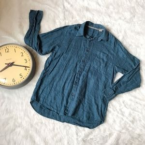 Tommy Bahama 100% Linen Shirt Men Blue