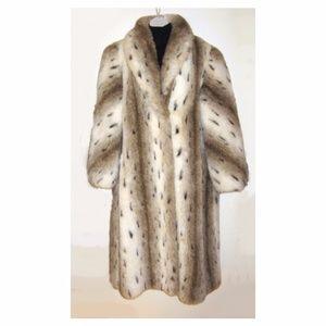 Pristine Vintage Faux Fur Snow Leopard Coat L