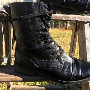 Vegan Leather Black Combat Boots Size 8.5