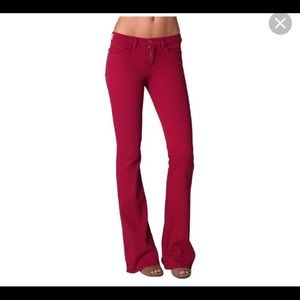 Red jeans flare jeans