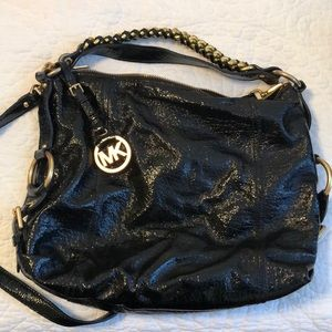 Michael Kors Black Patent Leather Hobo Gold