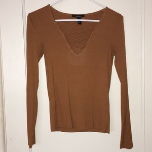 Forever 21 Lace Up Long Sleeve Top