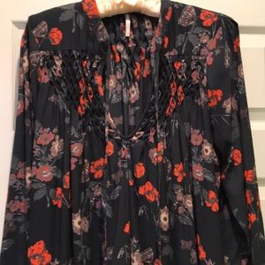 Free People floral tunic bell sleeves