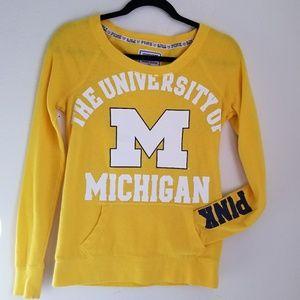 Pink Victoria's Secret Yellow Michigan Sweatshirt