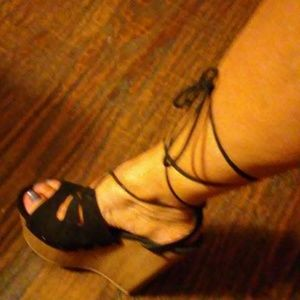 Size 8, Black Suede Wedge Sandals