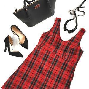 Vintage Red & Black Plaid A-line Dress, S/7