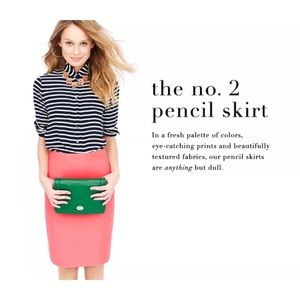 J.Crew No.2 Pencil Skirt in double Serge wool