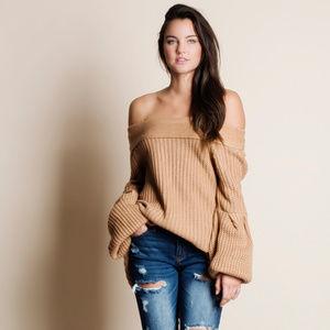 Off Shoulder Oversized Sleeve Sweater
