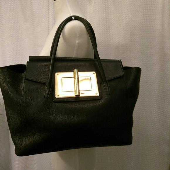 81b1e4787a5 Tom Ford Natalia Soft Leather Turn-lock Tote Black