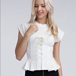 🆕Honey Punch Kira White Lace Up Corset Peplum Top