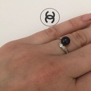 Jewelry - Black pearl Silver Ring - Size 7