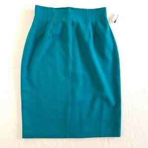 Vintage NWT Modiano teal pencil skirt size 8