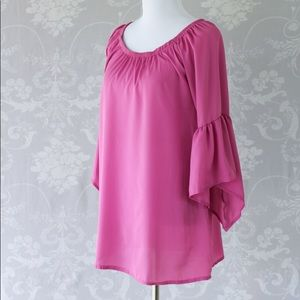 Pink bell sleeve tunic