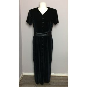 Vintage Black Velvet Button Up Maxi Dress