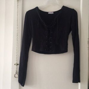 Black lace-up shirt