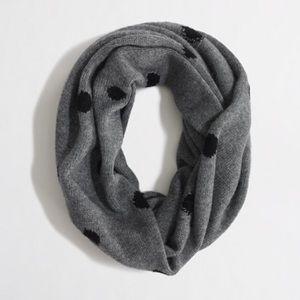 JCrew Polka dot infinity scarf - grey/black