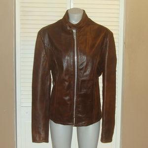 Vntg Brown Genuine Leather Cafe Racer Moto Jacket