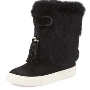NWOT Tory Burch Anjelica ankle boots rabbit fur