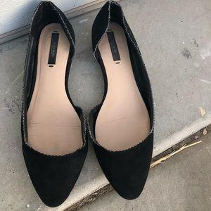 [Zara] Black Pointed Toe Ballet Flats