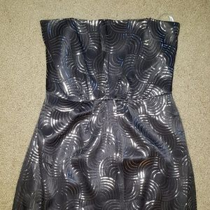 REPOSH Navy Silver Silk Swirl Print Cocktail Dress