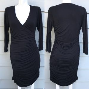 H&M Black Drape Long Sleeve Bodycon Dress