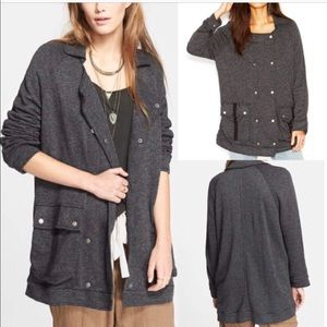 Free People Notched Lapel Knit Peacoat