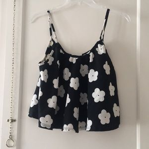 Black and white flower tank top