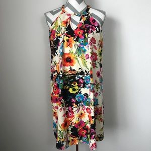 {S} Peach Love Floral Shift Dress with Keyhole
