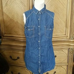 Forever 21 Denim button up sleeveless shirt Small