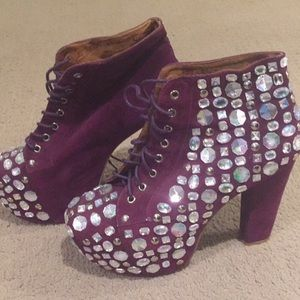 Purple suede rhinestone booties perfect 4 NYE