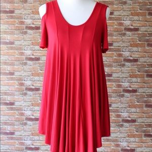 Red Cold Shoulder Tunic
