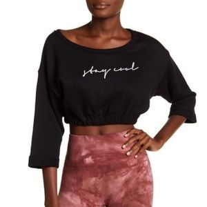 Free People MSRP $78 Graphic Print Knit Crop Top