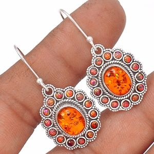 Mexican Fire Opal and Silver Earrings