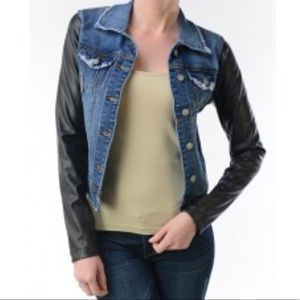 A.N.A DENIM JACKET WITH LEATHER SLEEVES