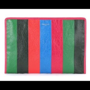 Balenciaga Holiday Bazar striped leather clutch