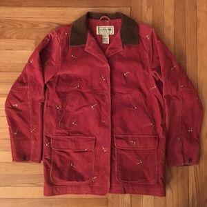 LL Bean red corduroy partridge print jacket L